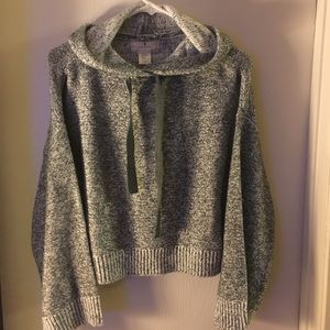 Soft cropped sweater with flare sleeves